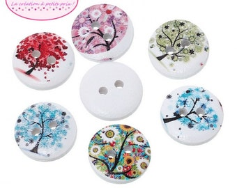 50 buttons round flower tree 1.5 cm