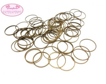 100 closed rings connectors Bronze 22mm
