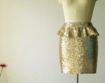 Light Gold Sequins Skirt with ruffled trim at waist/Little Mermaid Sequins Skirt/ Fitted Tight Pencil  Skirt /Bridesmaid/Bachelorette Skirt