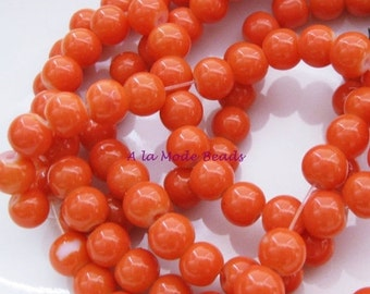 ON SALE 6mm Round Glass Beads (35) Orange Glass Beads