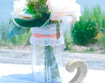 1 - 32oz (Qt) PEACH Lace Mason Jar