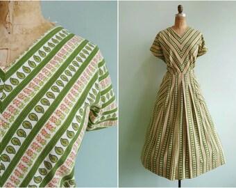 Vintage 1950s Green Striped House Dress | Size XXLarge