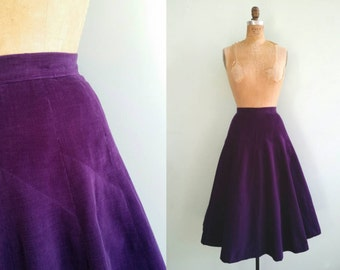 Vintage 1950s Purple Corduroy Circle Skirt | Size X-Small