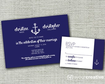 "Nautical Print-Ready Wedding Invitation! Printable 2-piece set includes 5x7"" invitation and 5x3.5"" RSVP card!"