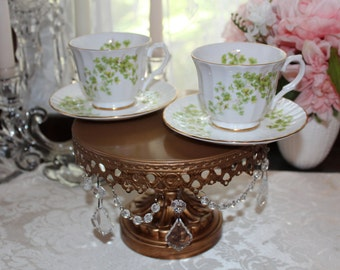 Pair of Vintage Crown Trent Tea Cups,  Green Clover Patterned Teacup, Made in England