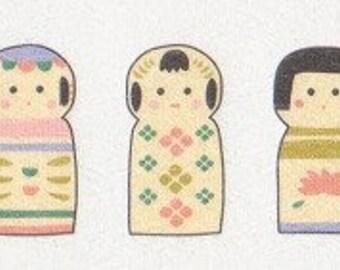 Kokeshi Dolls - Japanese Washi Paper Flake Stickers - Set of 30 - Reference H3465-67