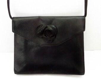 Vintage 1980s leather purse, 80s leather bag, Italian designer, cross body, rose, rosette, Furla black leather bag, crossbody, boho