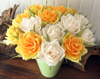 Yellow Ivory roses/ Wedding centerpiece/ Table floral arrangement/ Wedding decoration/ Bridal bouquet/ Wedding flower/ Birthday party