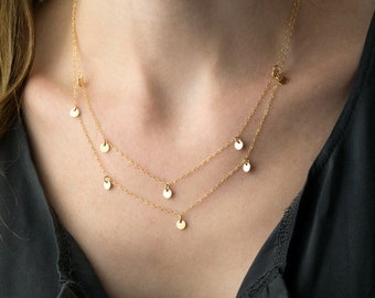 Layered Disc Necklace gold filled necklace tiny coin necklace dainty gold necklace double strand necklace minimal discs necklace layered set