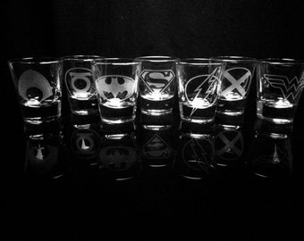The Justice League Symbol Shot Glasses - Set of 7 -Superman -Batman -Wonder Woman -Flash -Green Lantern -Aquaman -Martian Manhunter