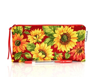 Sunflower pencil case, Floral pouch, Make up bag, Yellow flowers, Lined pouch, Small pouch, Teacher gift, Cosmetic case, Zipper pouch, Red