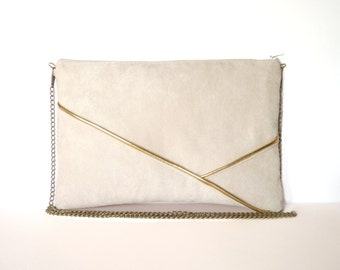 Pouch, shoulder bag beige and gold graphics