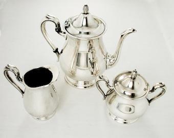 Reed & Barton Jamestown 3 pc Silverplate Tea Set, Teapot, Creamer, Sugar Bowl
