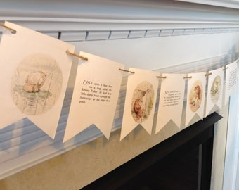 The Tale of MR JEREMY FISHER story book banner bunting Beatrix Potter