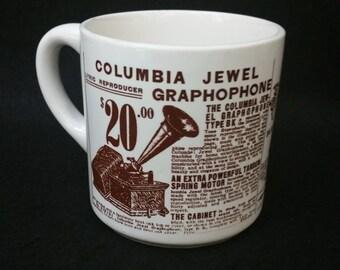 Sears, Roebuck & Co 1906 Catalog / Columbia Jewel Graphophone Coffee Mug, Made in the USA
