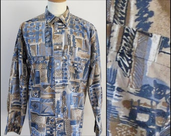 Mans 'Class' French blue tan shirt mans party casual disco shirt size 41/42 medium/large
