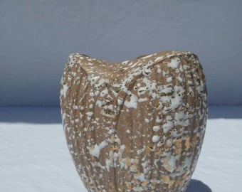 MCM Deena Savoy matte mocha brown vase with off white and 24kt gold spatter