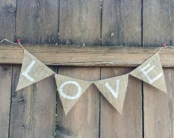 LOVE Burlap Banner - Customize!
