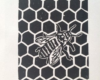 Honey To The Bee Linocut Print Limited Edition