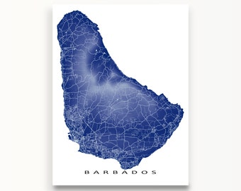 Barbados Map Print, Barbados Art, Caribbean Island Map Artwork