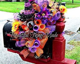Halloween Mailbox Swag, Mailbox topper, mailbox decoration, Halloween decor, halloween party decoration, witch hat, deco mesh