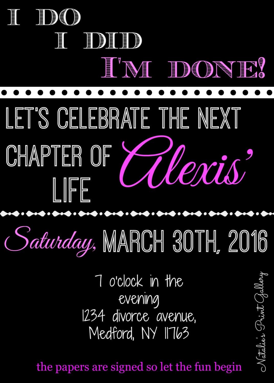 divorce party invitations printable digital download
