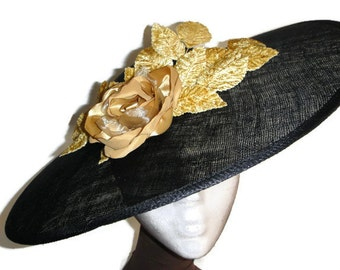 Black lampshade hat, black sun hat, black and gold hat, black races hat, black wedding hat