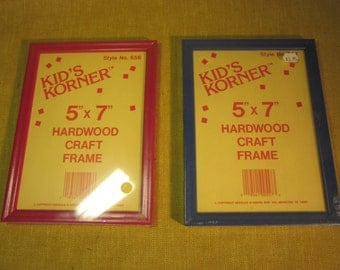 2 5x7 Kid's Korner hardwood craft frames, red , blue, made in USA.