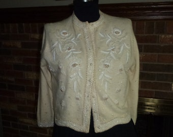 Vintage 1960s Beaded Lambs Wool Cardigan Sweater