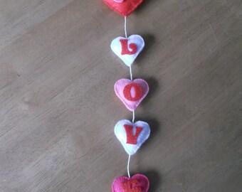 Felt Hearts and love door hanger
