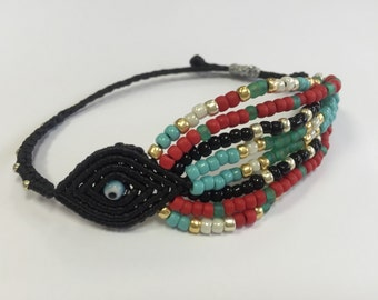 Tribal evil eye with beads black