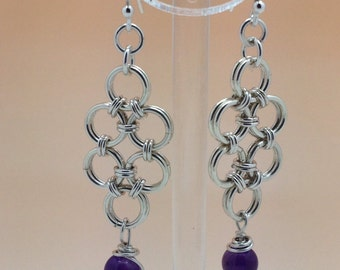 Sterling Silver Japanese Chainmaille Earrings with Amethyst.
