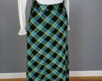 """Vintage 1970s Maxi Plaid Skirt 27"""" waist"""
