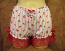 Cute,baby blue/white stripe and red nauticl symbol short bloomers with red lace,bows heart & anchor!Pin-up,rockabilly,1950's,burlesque! XX