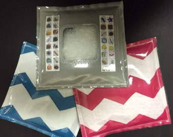 Square with White Chevron Stripes I Spy Bag