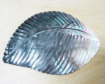 Carved Leaf Mother of Pearl Pendant