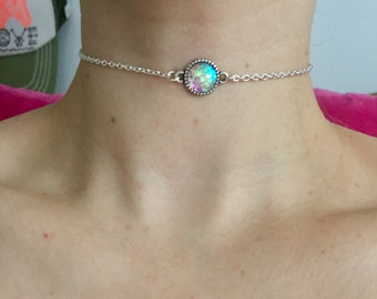 Iridescent mini mermaid scale choker