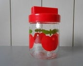 Vintage 1970s Glass Jar Container with Plastic lid. Decorated with green red apples. Gulf. Retro Kitchen storage Kitchenware. Made in France