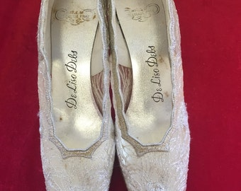 1950s size 6.5 De Liso Debs silver sparkle wedding shoes