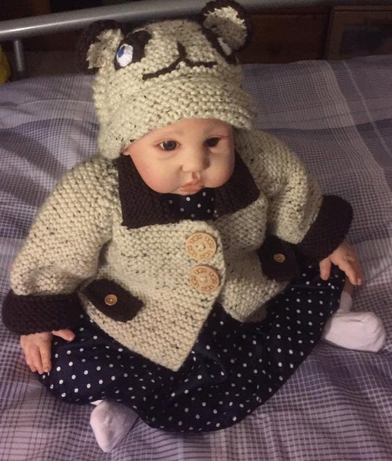 Baby Knitting Pattern Bear Coat and Hat