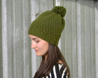 Forest green toque with pompom | Ladie's crocheted slouchy beanie | gifts for her | fall and winter fashion