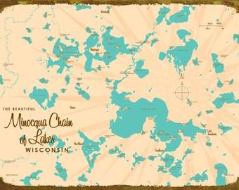 Minocqua Chain of Lakes, WI Map - Canvas Print