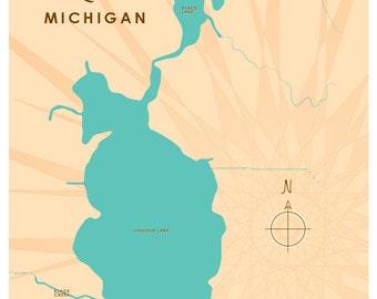 Lincoln Lake, MI Map Print