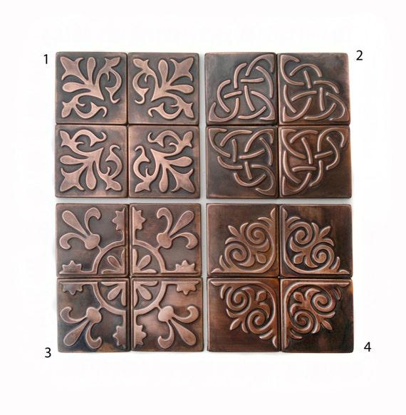 Copper Kitchen backsplash SET OF 4 TILES rustic modern