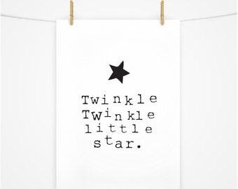 Twinkle Twinkle Little Star, Printable Download Wall Art, Printable Nursery Art, Kids Wall Art, Boys Room Star Print
