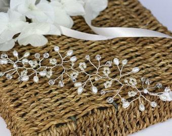 Bridal Cuff bracelet, babies breath bridal cuff, pearl and crystal bridal cuff bracelet, Gyp bridal Cuff, boho bridal cuff, pearl cuff,