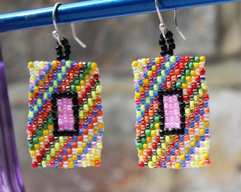 Pink Jewel on Jazz Colors, Beadwork Drop Earrings