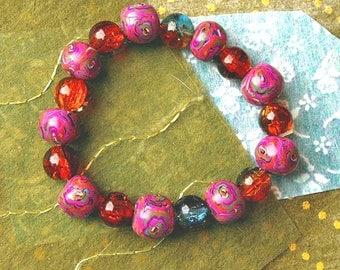 Bead Bracelet Artisan handmade polymer clay beads  Glass beads Hippy bracelet - Fiesta De Carnival !