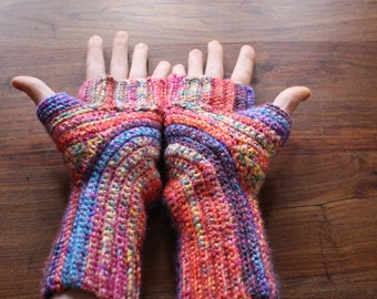 Rainbow Fingerless gloves // crochet // festival // UK // U turn gloves