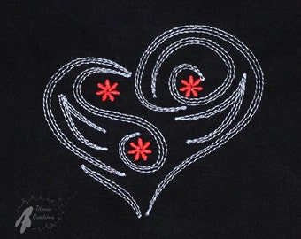 Tribal Hearts Machine Embroidery Design Pattern Set of Six for 4x4 Hoop by Titania Creations. Instant download.